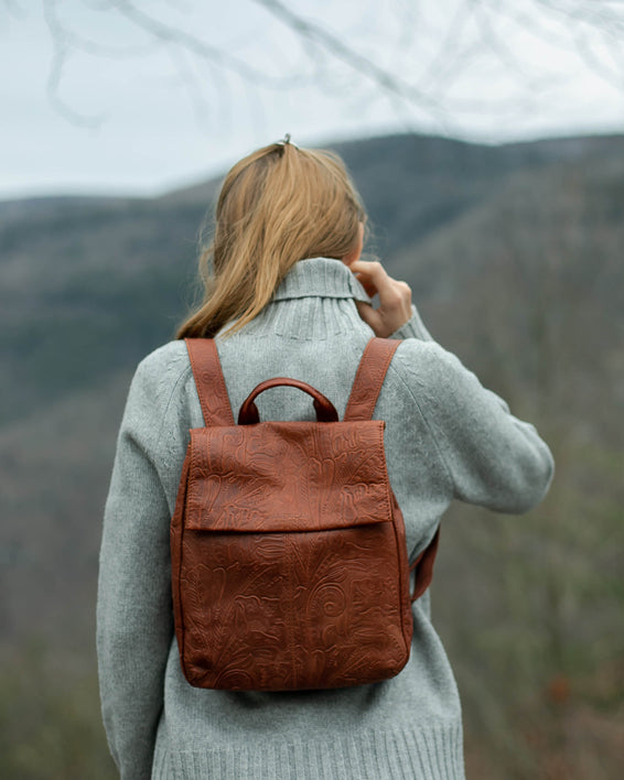American Leather Co. Liberty Backpack - stone on model