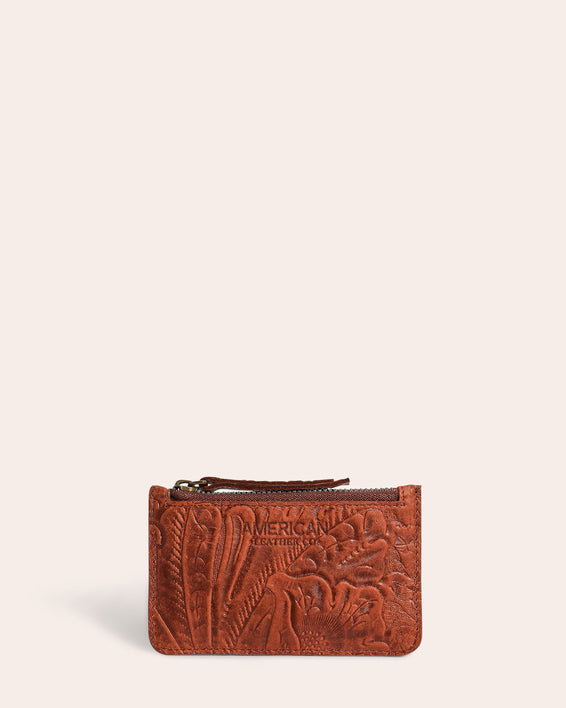 American Leather Co. Liberty Wallet With RFID Brandy Tooled - front