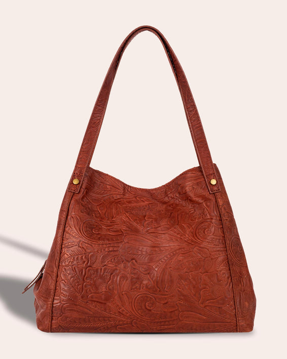 Liberty Shopper - brandy tooled front