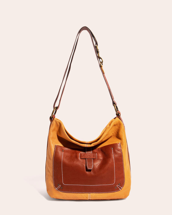 American Leather Co. Logan Convertible Hobo Apricot - front