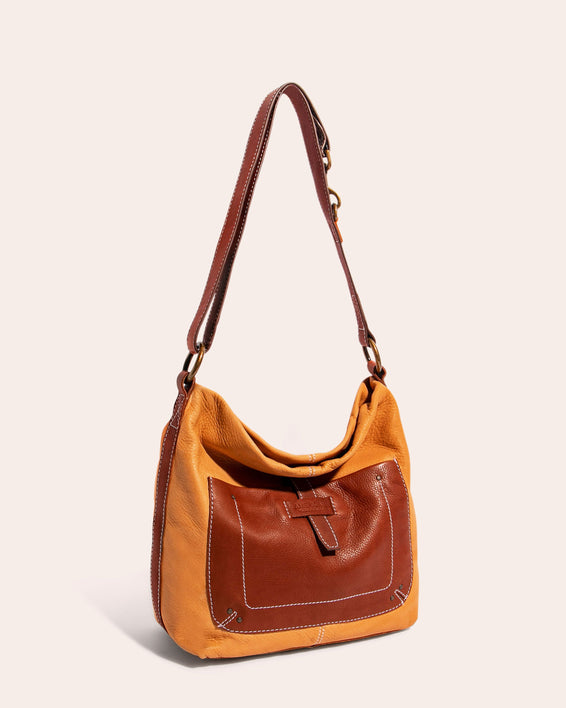 American Leather Co. Logan Convertible Hobo Apricot - side angle