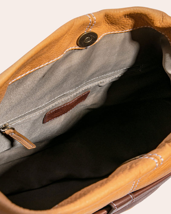 American Leather Co. Logan Convertible Hobo Brandy - inside functionality