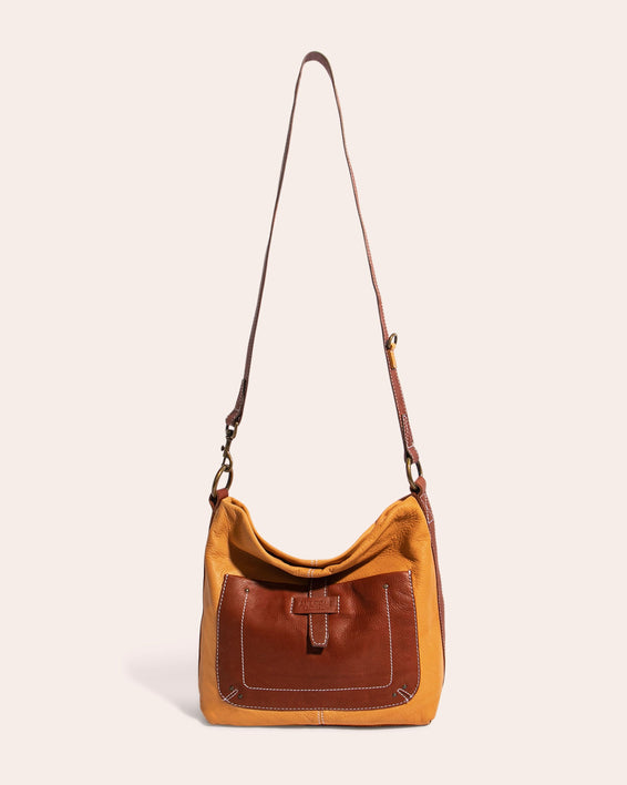American Leather Co. Logan Convertible Hobo Apricot - extended strap