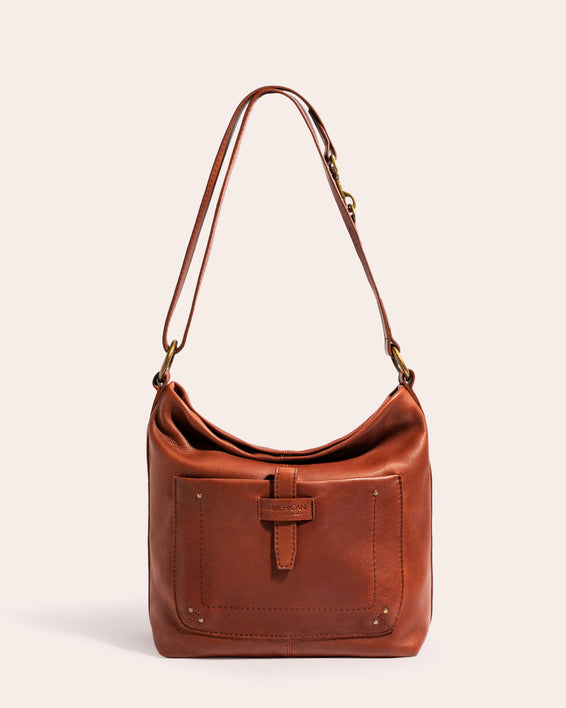 American Leather Co. Logan Convertible Hobo Brandy - front