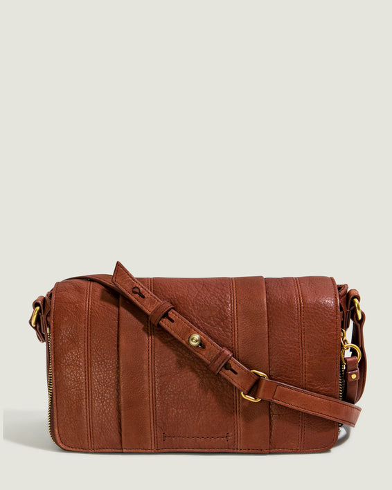 Maple Flap Crossbody - brandy front