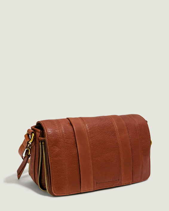 Maple Flap Crossbody - brandy side angle