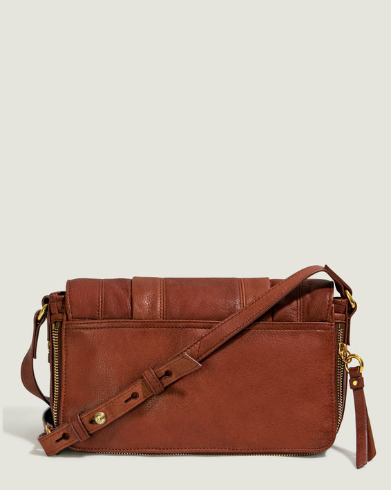 Maple Flap Crossbody - brandy back