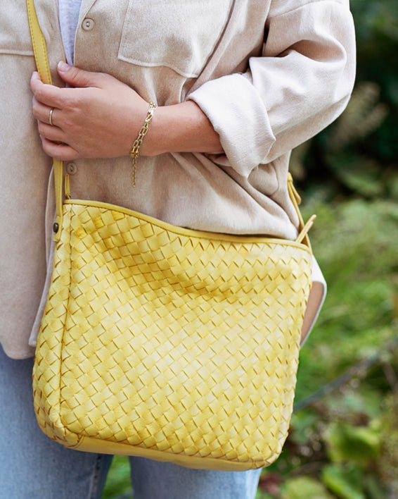 Modena Woven Crossbody - pale yellow lifestyle