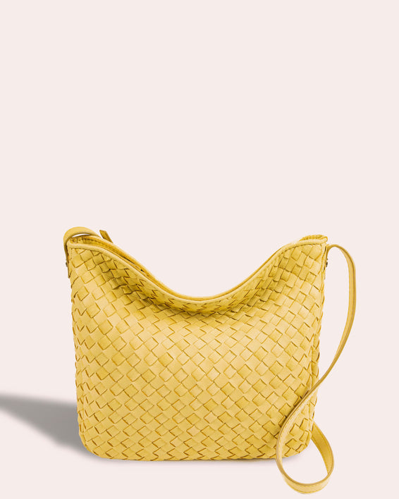 Modena Woven Crossbody - pale yellow front