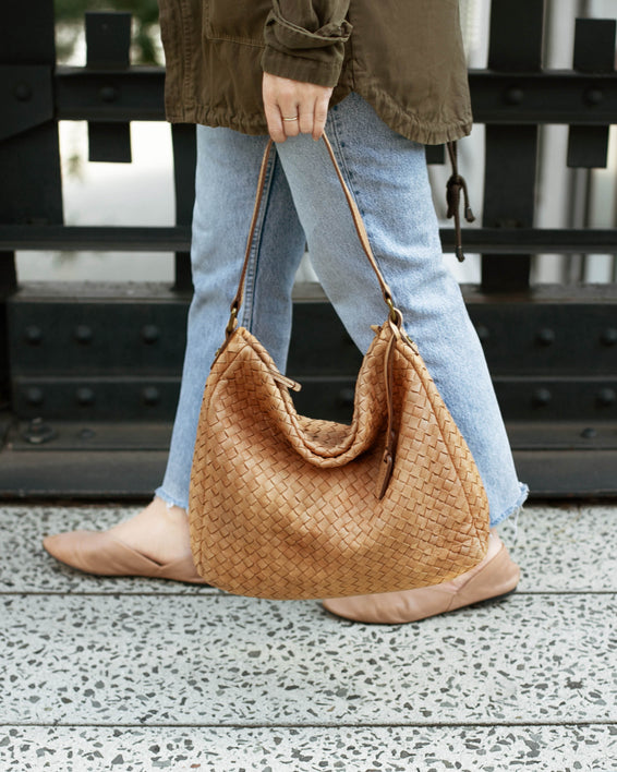 Modena Woven Hobo - butter rum lifestyle