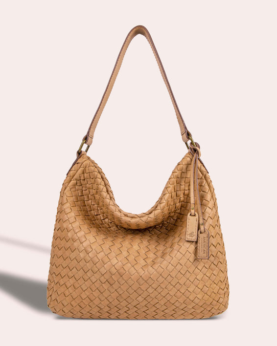 Modena Woven Hobo - butter rum front
