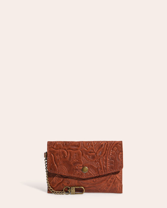 American Leather Co. Monica Coin Purse Brandy Tooled - front