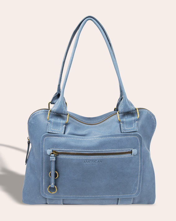 Montauk Dome Satchel - bay blue front