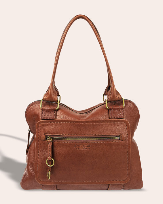 Montauk Dome Satchel - brandy front