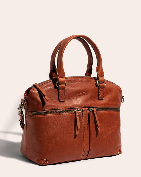 Hanover Dome Satchel Cafe Latte - side angle
