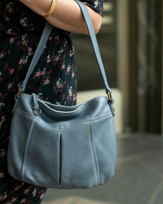 Vienna Double Entry Hobo - bay blue lifestyle