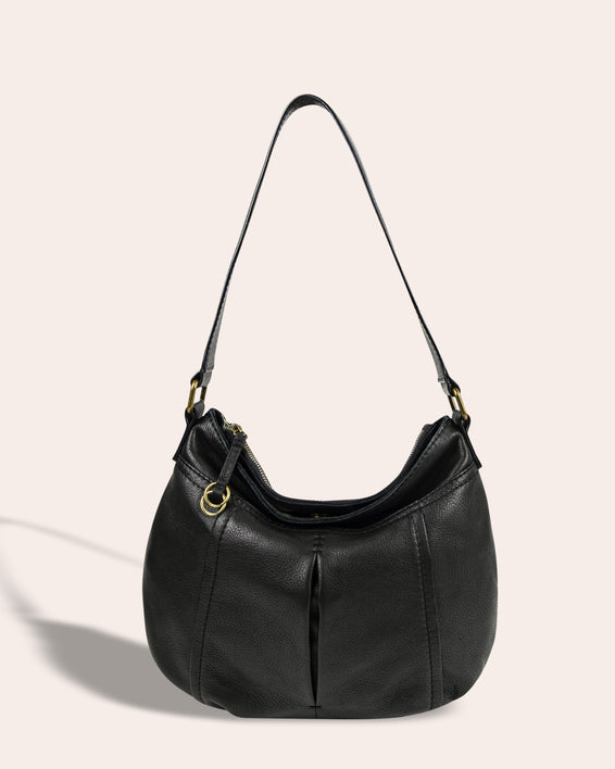 Vienna Double Entry Hobo - black front
