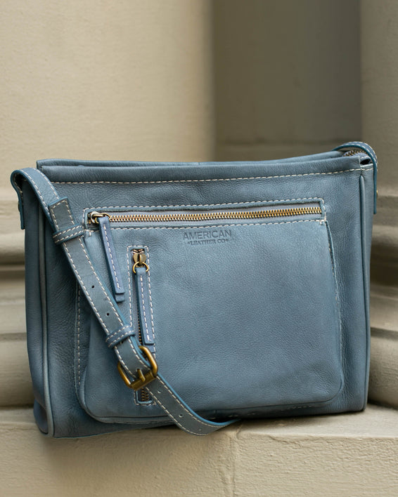 Washington Crossbody - bay blue lifestyle