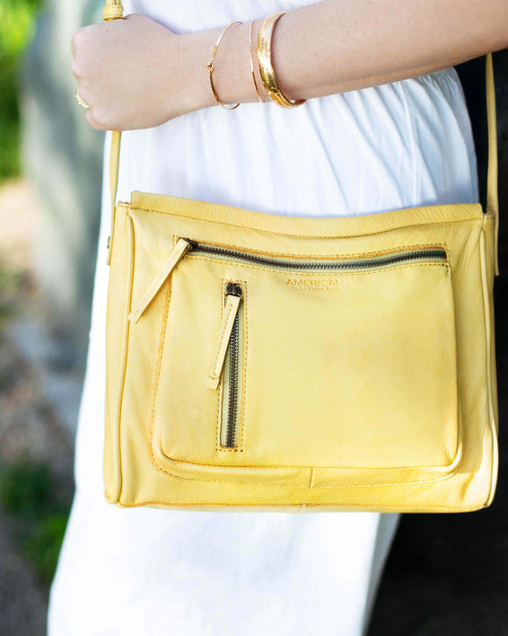 Washington Crossbody - pale yellow lifestyle