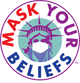 The Mask Your Beliefs logo is a symbol for our online store for cloth face masks, this is the Statue of Liberty wearing a face masks becasue we should all be safe and wear a mask
