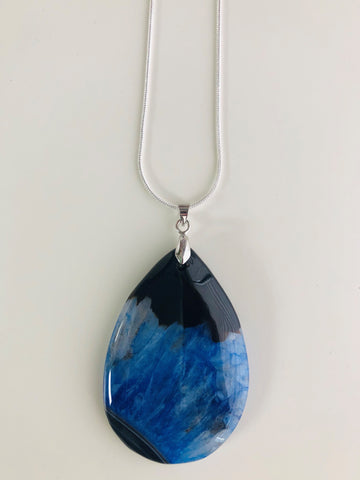 Black and Blue Stone water drop Necklace