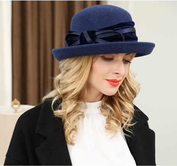 Navy Blue 100% Wool Felt Hats For Women