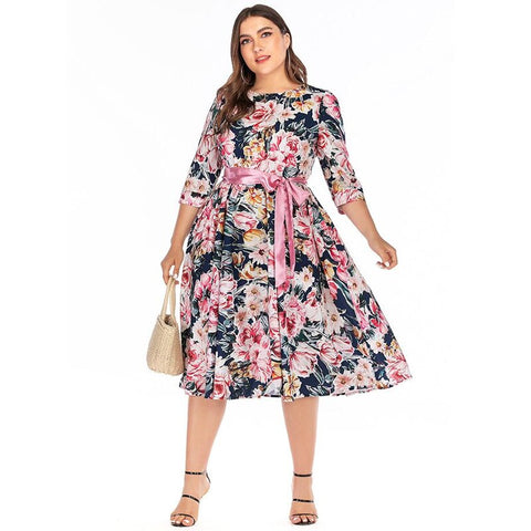 Dress Summer Casual Print Large size