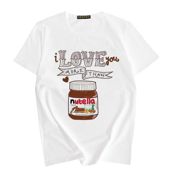 Nutella Aesthetic T-shirt Women Funny Print 2020 Summer Fashion