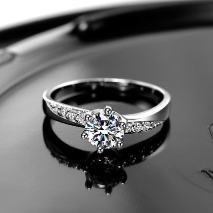 925 sterling silver zircon crystal anti-allergy ladies`wedding rings jewelry gift