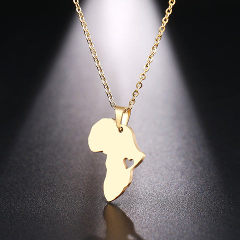 Necklace For Women Man Africa Map Gold And Silver Color