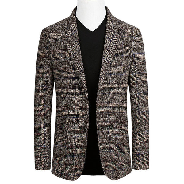 Short Blazer Mens Plaid British Stylish Male