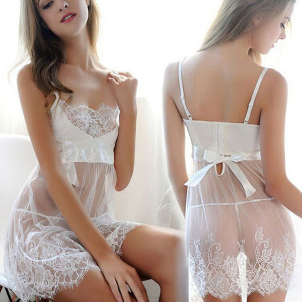 M-6XL Plu Size Nightgowns Women Hollow Out Bandage Sexy Erotic Lingerie