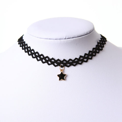 Charm Fashion Style Choker Necklace Black Lace Strip for Party Jewelry