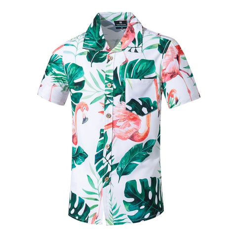 New Fashion Men Short Sleeve Hawaiian