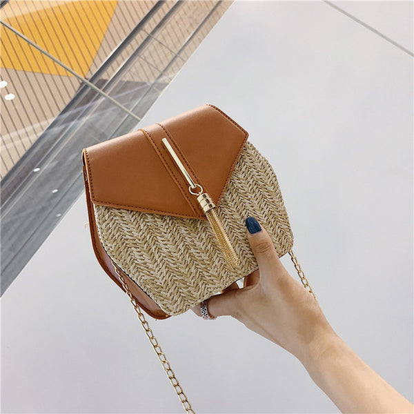 New Fashion Hexagon Bohemia Style Straw leather Handbag Women Summer
