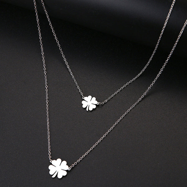 Women Double Lucky Clover Cross Necklace Stainless Steel