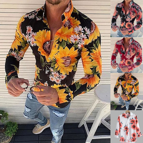 New Men's Floral Shirt Long Sleeve