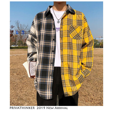 Korean Plaid Shirts For Men 2020 Fashion