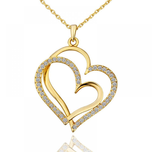 Womens Fashion Necklace Double Heart