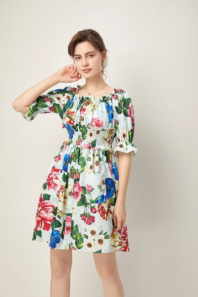 Summer Dress Women's Red Rose Vacation