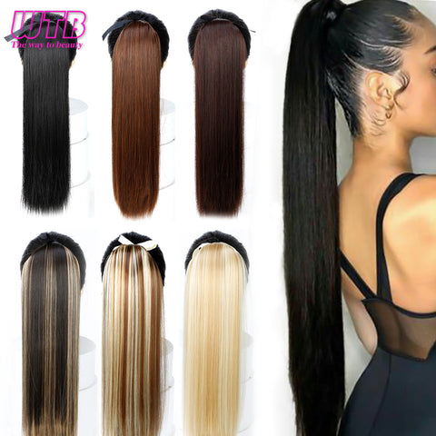Long Straight Ponytails for Women Heat Resistant Synthetic Drawstring Fake Hair