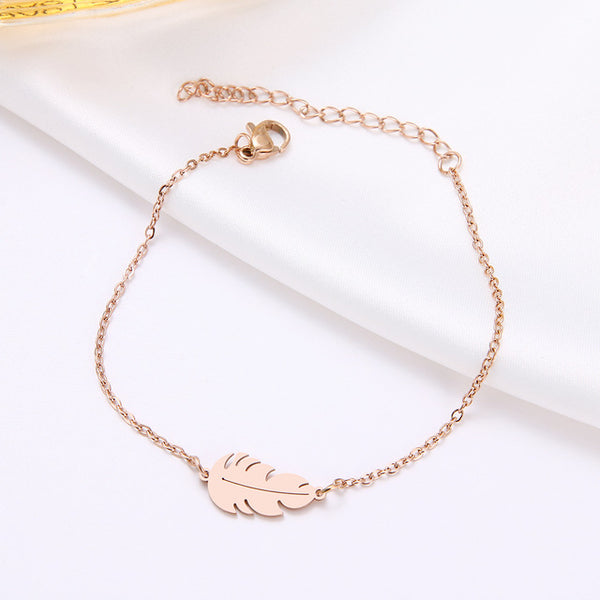 Bracelet For Women Feather  Man Gold And Rose Gold Color