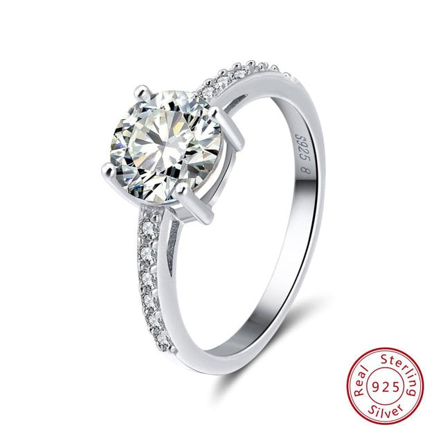 925 Sterling Silver Women Solitaire Rings