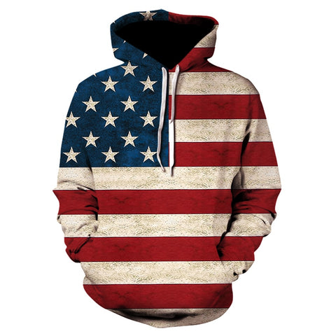 2020 brand 3D fun design USA flag hoodie fashion men's and women's sports street wear