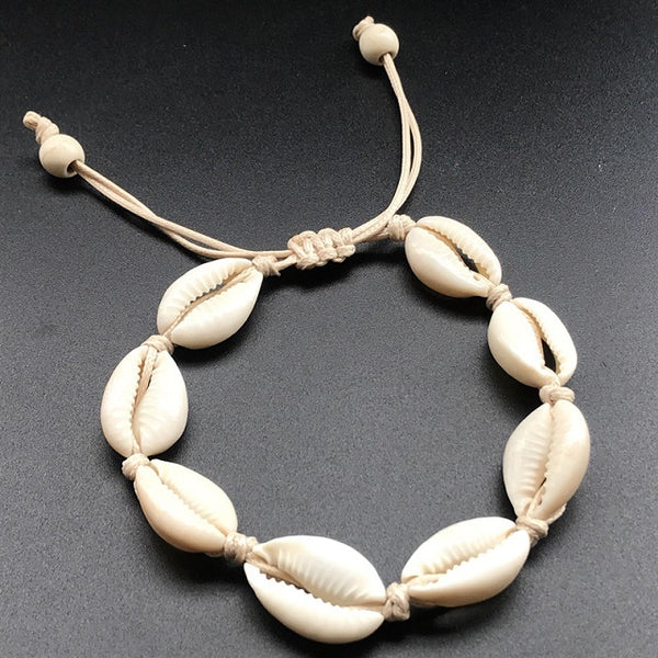 Gold Color Cowrie Shell Bracelets for Women Pearl Beads Charm