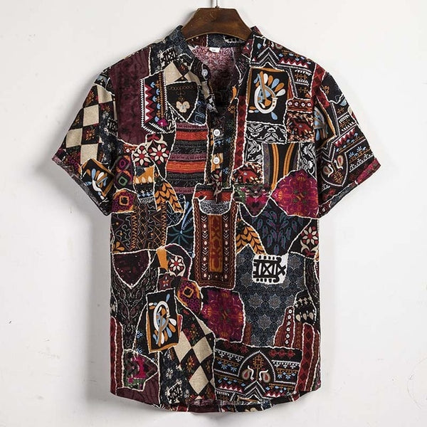 Summer Man Shirt Mens Ethnic Printed Stand Collar