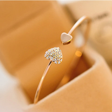 Hot New Fashion Adjustable Crystal Double Heart