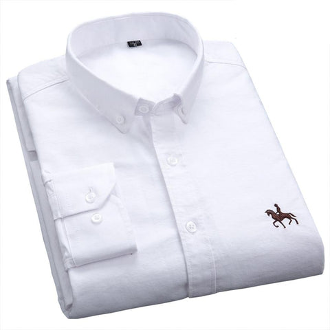 Casual Pure Cotton Oxford Men Shirt White Long S