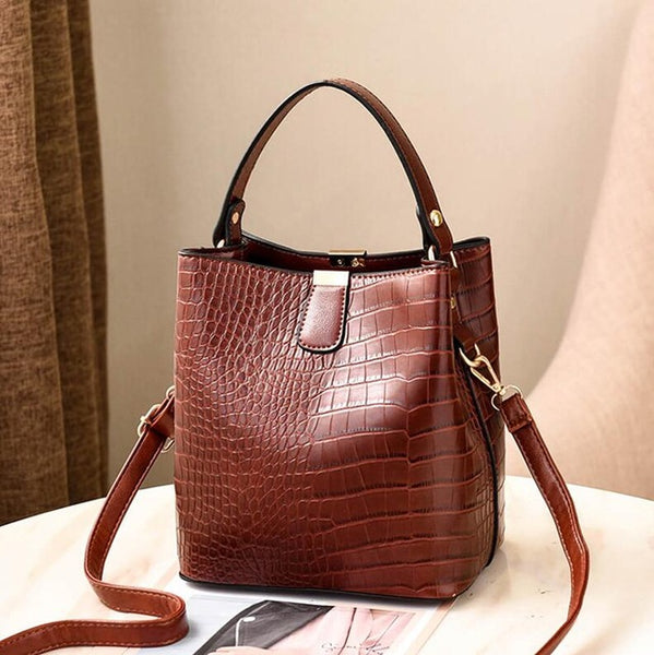 Handbag Capacity Casual Crocodile Shoulder Messenger Bags Ladies PU Purse