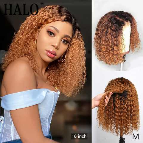 1B/27 Ombre Color Short Curly Lace Front Human Hair Wigs